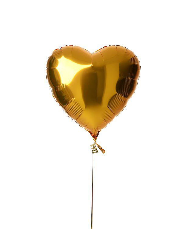 BALLON COEUR OR + CARTE MESSAGE