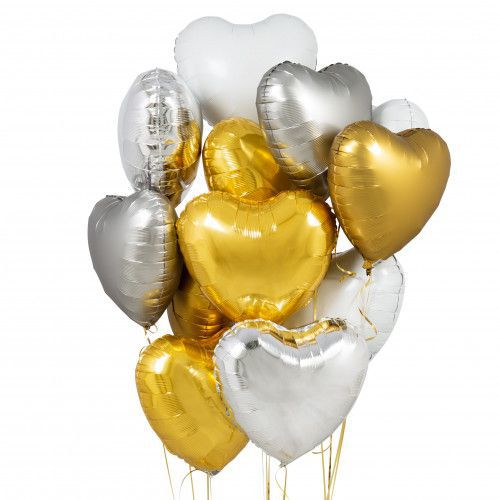 BOUQUET 3 BALLONS-BIJOU®  ARGENT+OR+BLANC+CARTE MESSAGE