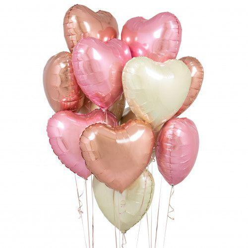 BOUQUET 3 BALLONS-BIJOU®  GOLD+ ROSE+BLANC+CARTE MESSAGE