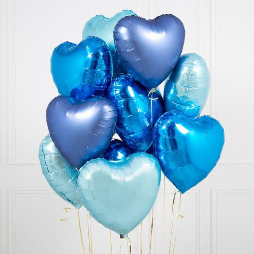 BOUQUET 3 BALLONS-BIJOU®  VARIATION DE BLEUS+CARTE MESSAGE