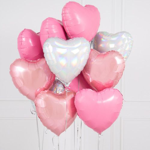 BOUQUET 3 BALLONS-BIJOU®  BLANC+ROSE+ARGENT+CARTE MESSAGE