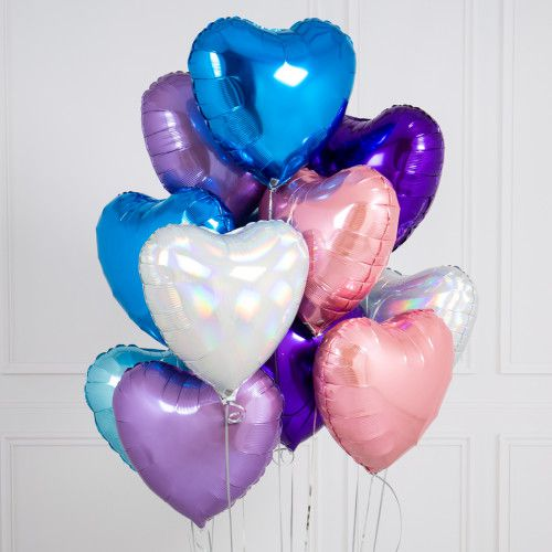 BOUQUET 3 BALLONS-BIJOU®  BLEU +ROSE+PARME+CARTE MESSAGE